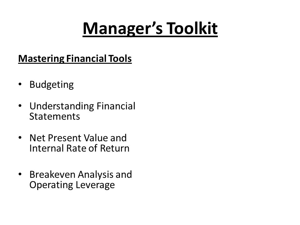 Manager's Toolkit Mastering Financial Tools Budgeting