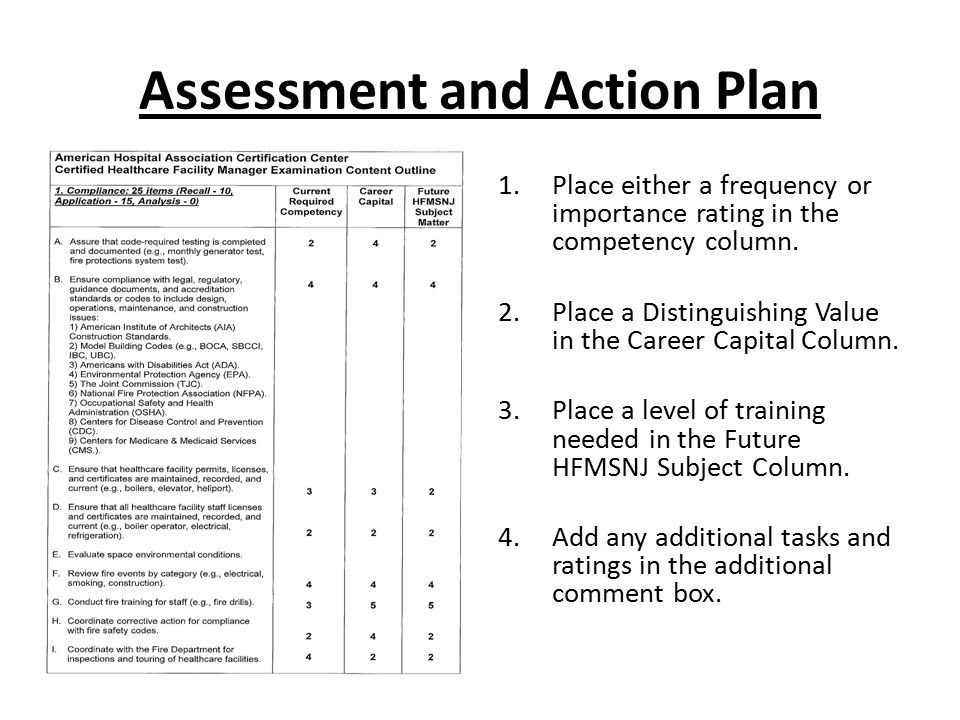 Assessment and Action Plan