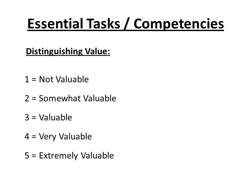 Essential Tasks / Competencies