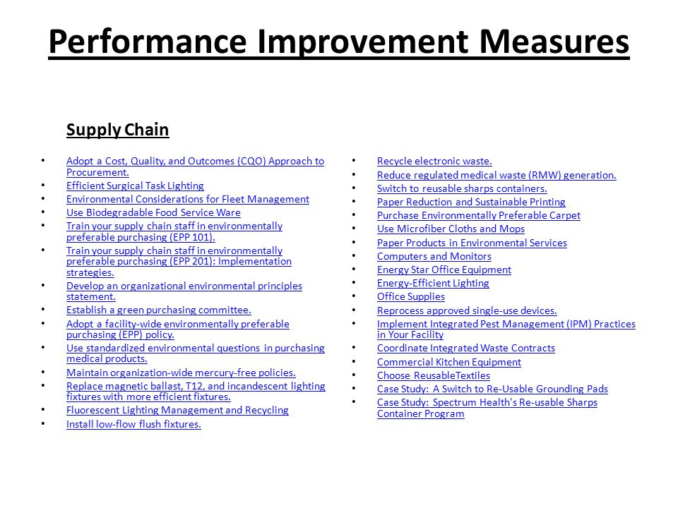 Performance Improvement Measures