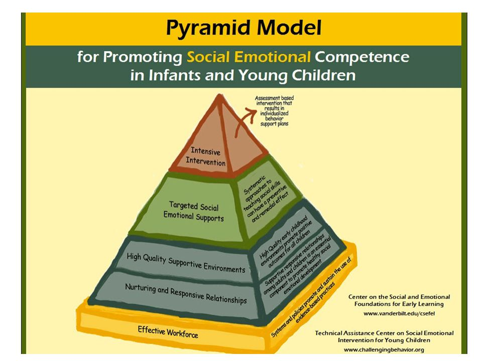 The Kansas Multi-Tier System of Supports for Behavior are based on the research-validated practices of School-wide Positive Behavioral Interventions and Supports (SW-PBS or PBIS) and, for preschoolers, the Teaching Pyramid model. The general curriculum, instruction and assessment practices outlined in MTSS are consistent with those found in SWPBIS and the Teaching Pyramid. For preschools, the significant difference is the implementation of this model through a school based approach (meaning that preschool classrooms located within an elementary building provide representatives who serve as equal members on the building leadership team, and make decisions based on the needs of all programs within that building). The Kansas MTSS framework provides very concrete steps that are taken in a prescribed order by the leadership team through a process called Structuring, and then later Implementation.