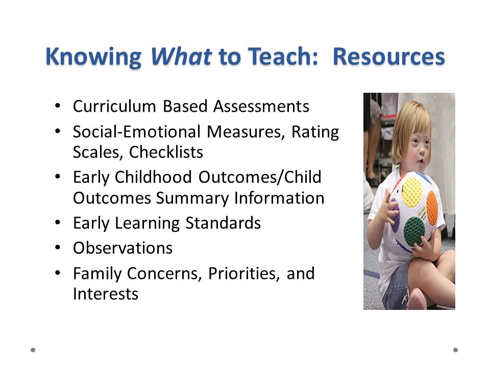 Knowing What to Teach: Resources