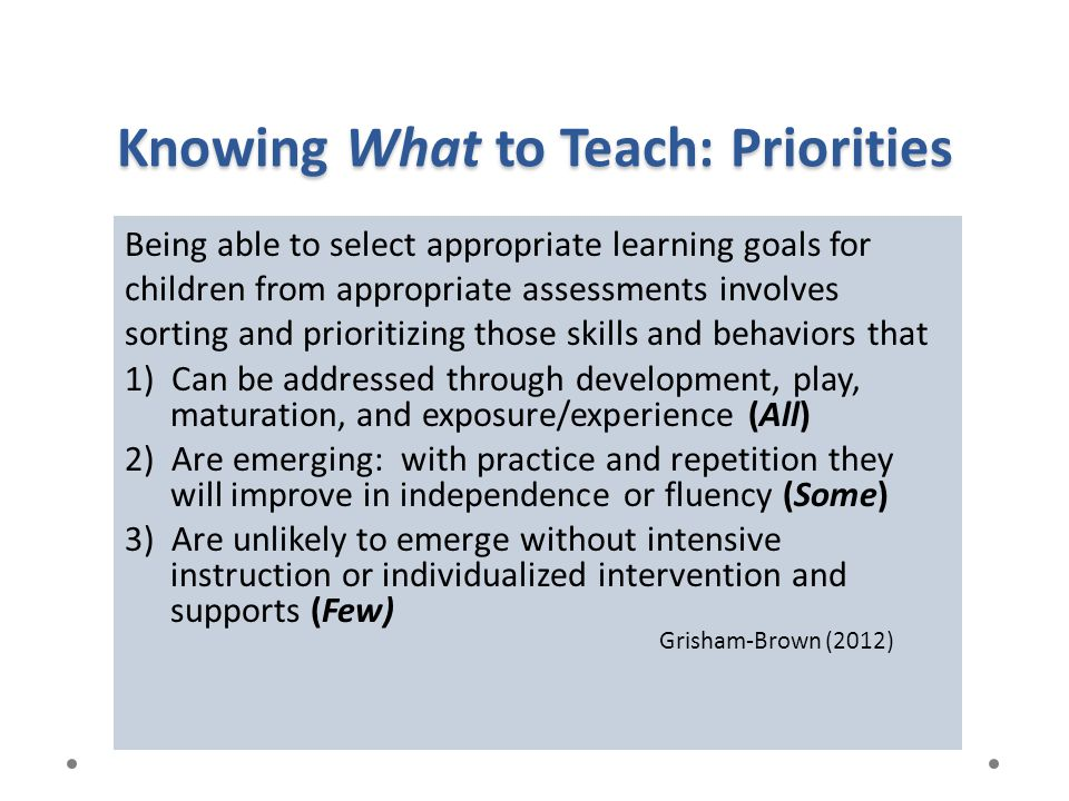 Knowing What to Teach: Priorities