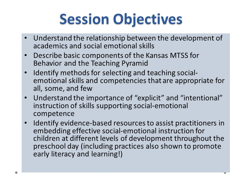 Session Objectives Understand the relationship between the development of academics and social emotional skills.