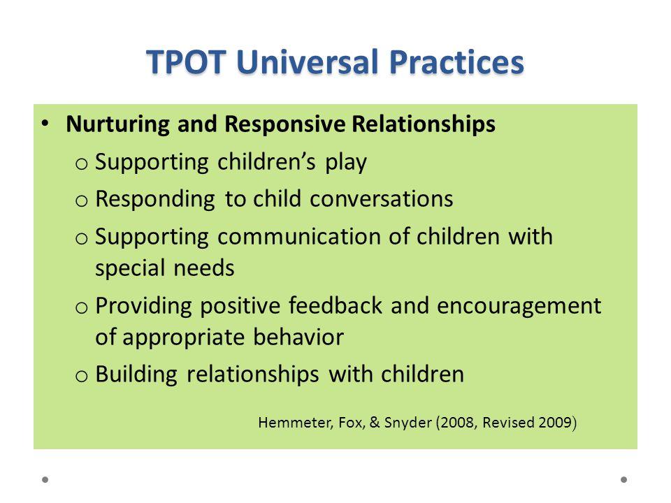 TPOT Universal Practices