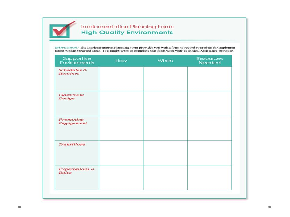 …and a corresponding planning form, as the one pictured here that accompanies the checklist for High Quality Environments. I know you can't really read these, but you should have received the complete set of handouts from Karen, and you can download the electronic copies as well.