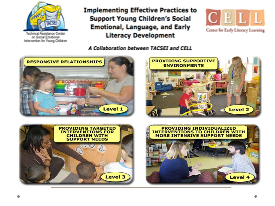 The 2 centers created a website that identifies common practices promoting social emotional skills and early literacy skills by levels that correspond with the Teaching Pyramid, and the practice implementation checklists we just talked about. Responsive relationships and supporting environments are levels 1 and 2, targeted interventions are at level 3, and individualized and intensive interventions are at level 4. Level 4, when I was there last, was listed as still under development. Lisa Fox, the director of the TACSEI center, and Carol Trivette, one of the directors of the CELL Center, said they hope to obtain funding to fully develop this website, adding links to additional materials, more videos. Currently, each practice is linked to existing resources posted on the CELL, CSEFEL, or TACSEI websites. They don't link to every available resource that supports the practice—just several examples, most with photos, video clips, or materials to support you in teaching the practice. We wanted to make sure you know about this site for another reason too, because of how often we hear from practitioners who are aware of these websites that there is just so much information there they sometimes have difficulty navigating the sites to find what they're looking for. This site may serve as a guide for how to use the vast resources available from these 3 early childhood technical assistance centers.