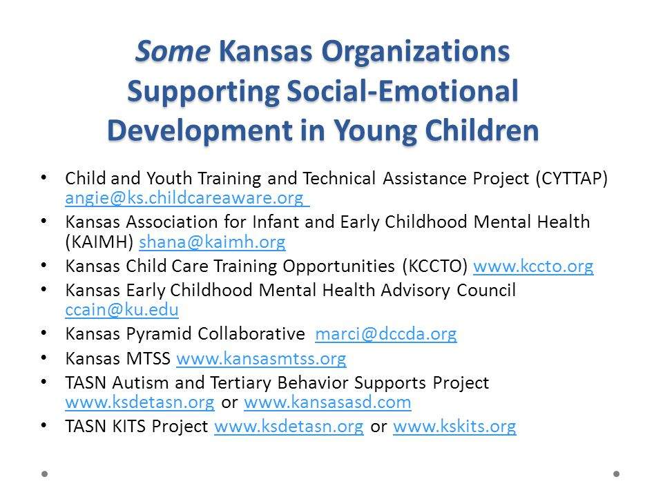 Some Kansas Organizations Supporting Social-Emotional Development in Young Children