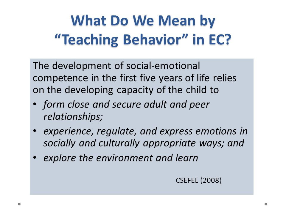 What Do We Mean by Teaching Behavior in EC