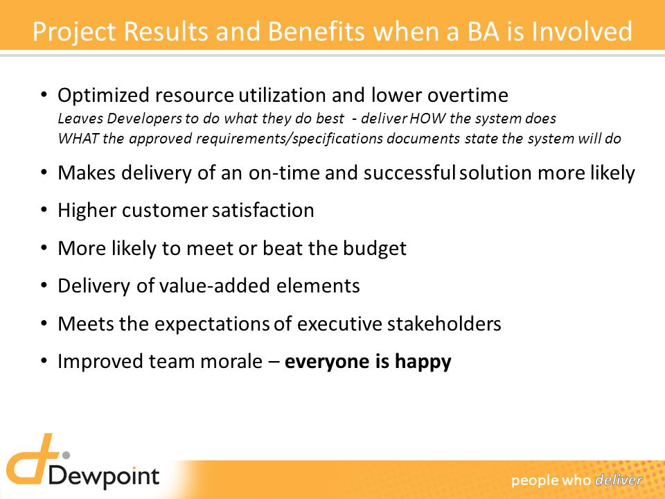 Project Results and Benefits when a BA is Involved