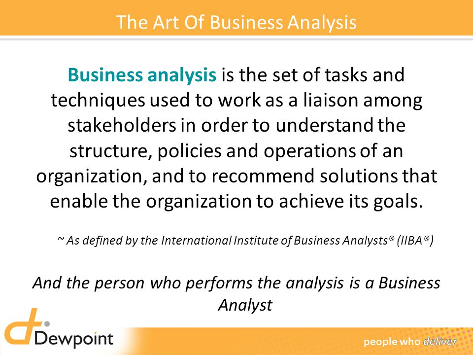 The Art Of Business Analysis