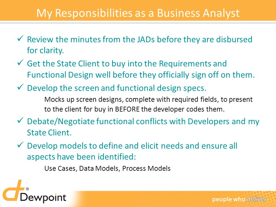 My Responsibilities as a Business Analyst