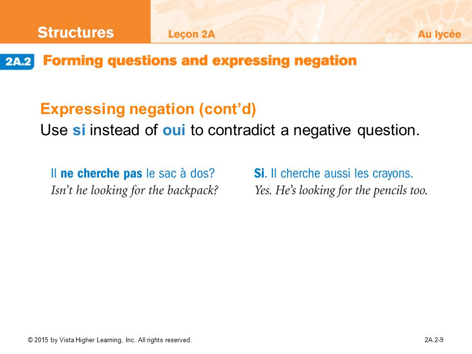 Expressing negation (cont'd)