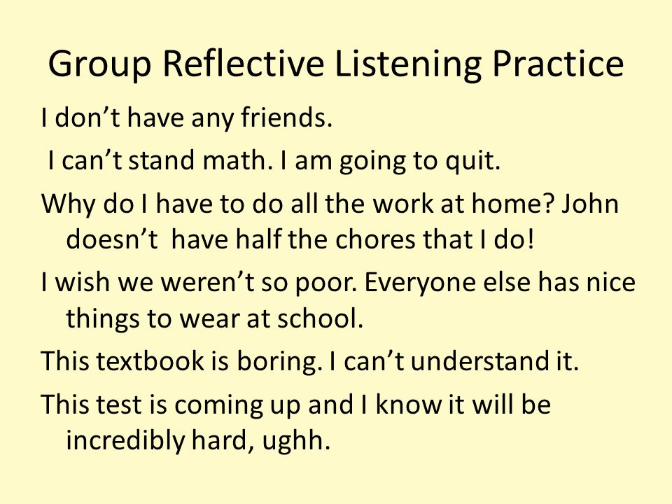 Group Reflective Listening Practice