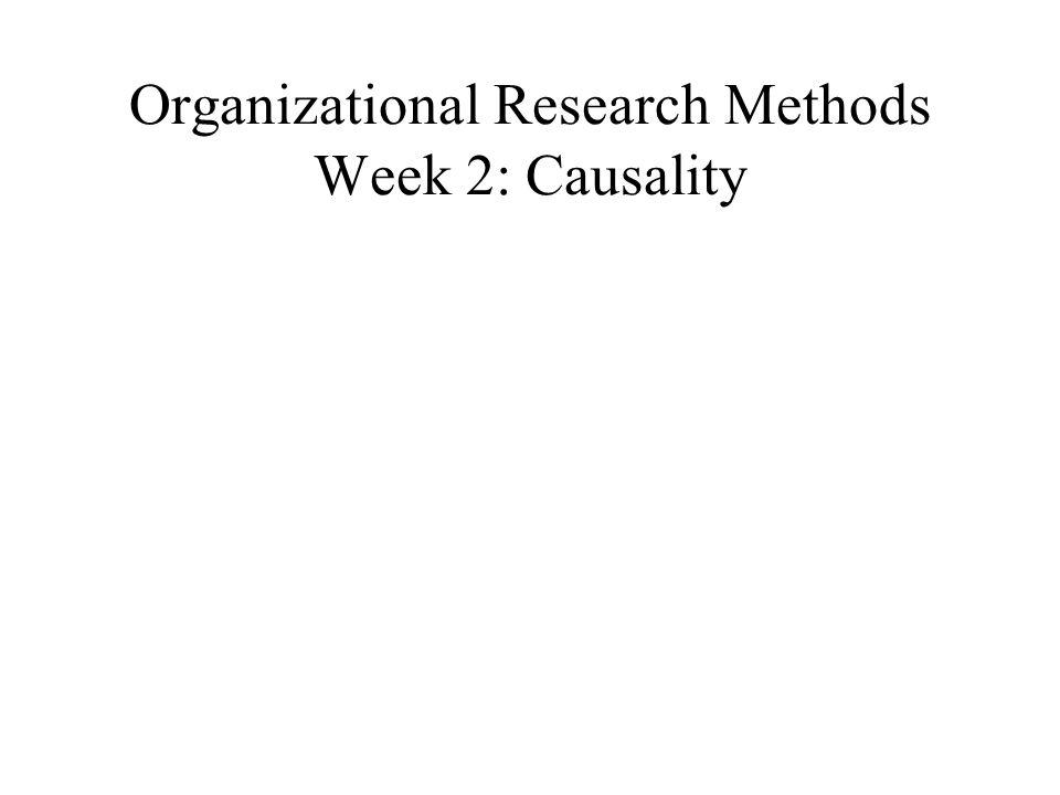 Organizational Research Methods Week 2: Causality