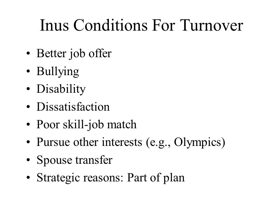 Inus Conditions For Turnover