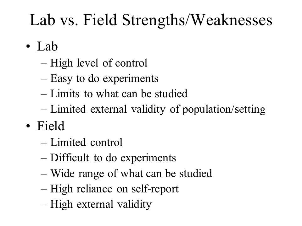 Lab vs. Field Strengths/Weaknesses