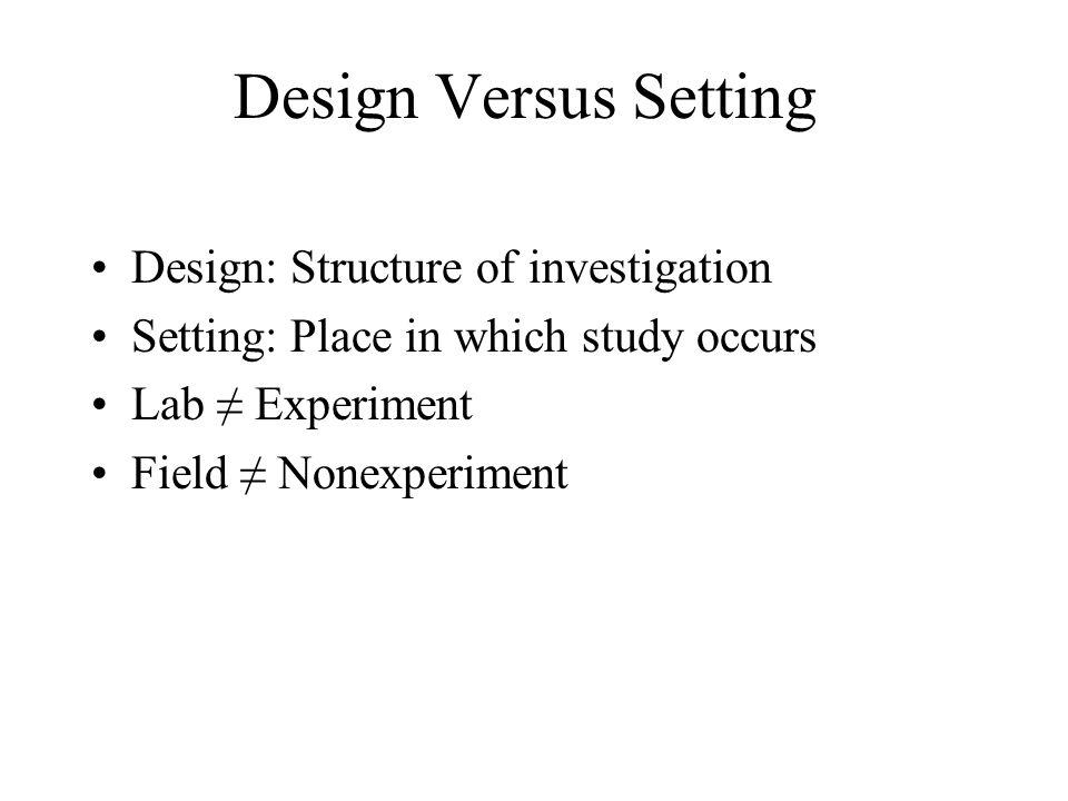 Design Versus Setting Design: Structure of investigation