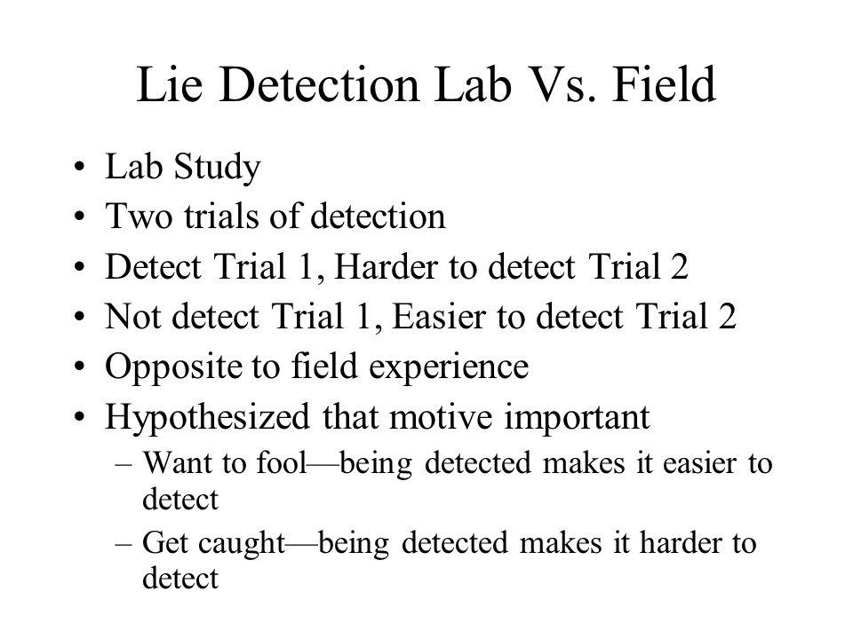Lie Detection Lab Vs. Field