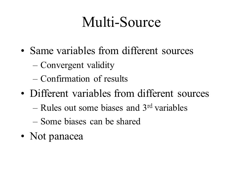 Multi-Source Same variables from different sources