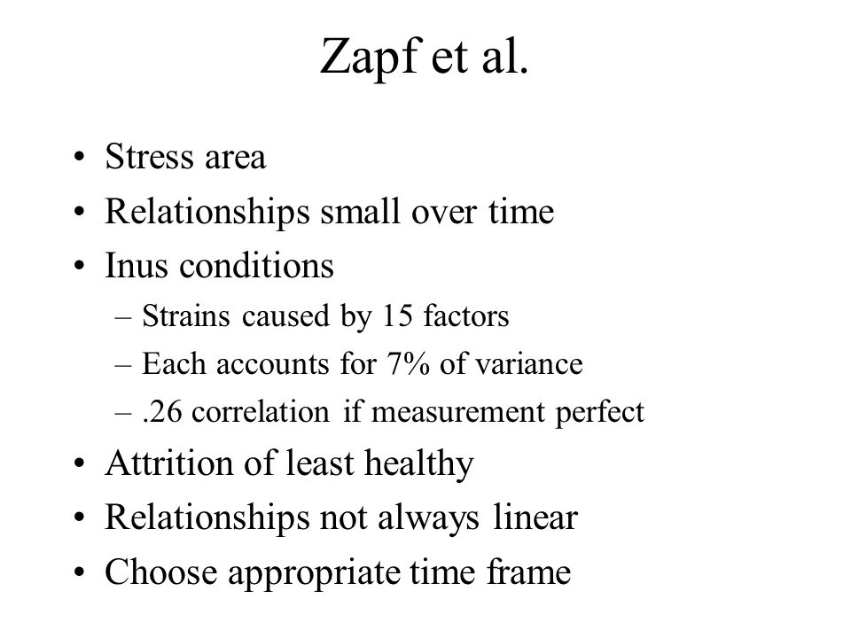 Zapf et al. Stress area Relationships small over time Inus conditions