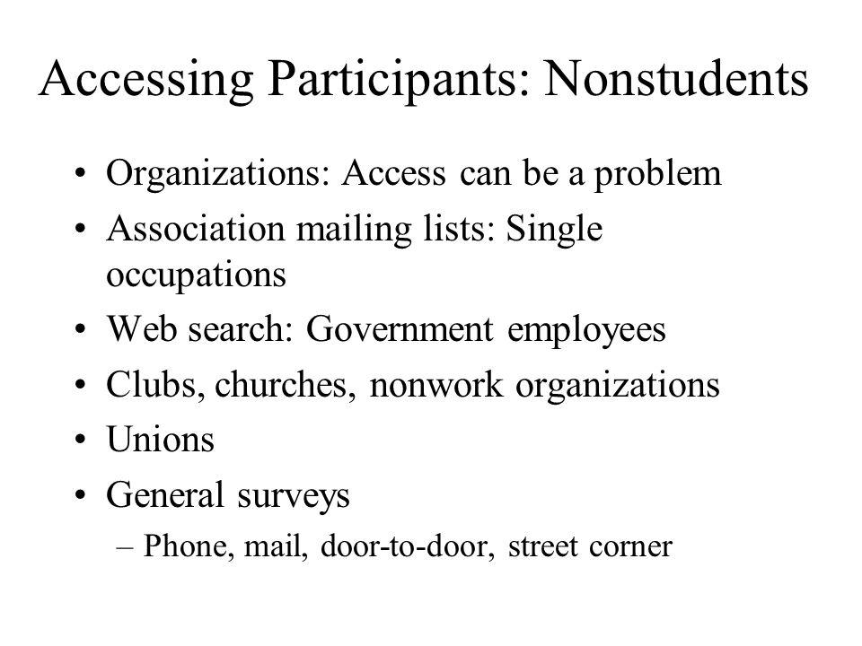 Accessing Participants: Nonstudents
