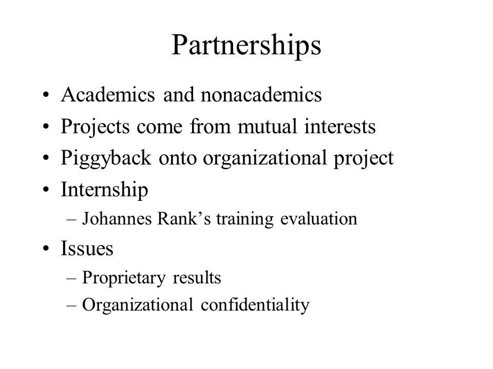 Partnerships Academics and nonacademics