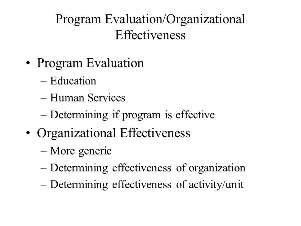 Program Evaluation/Organizational Effectiveness
