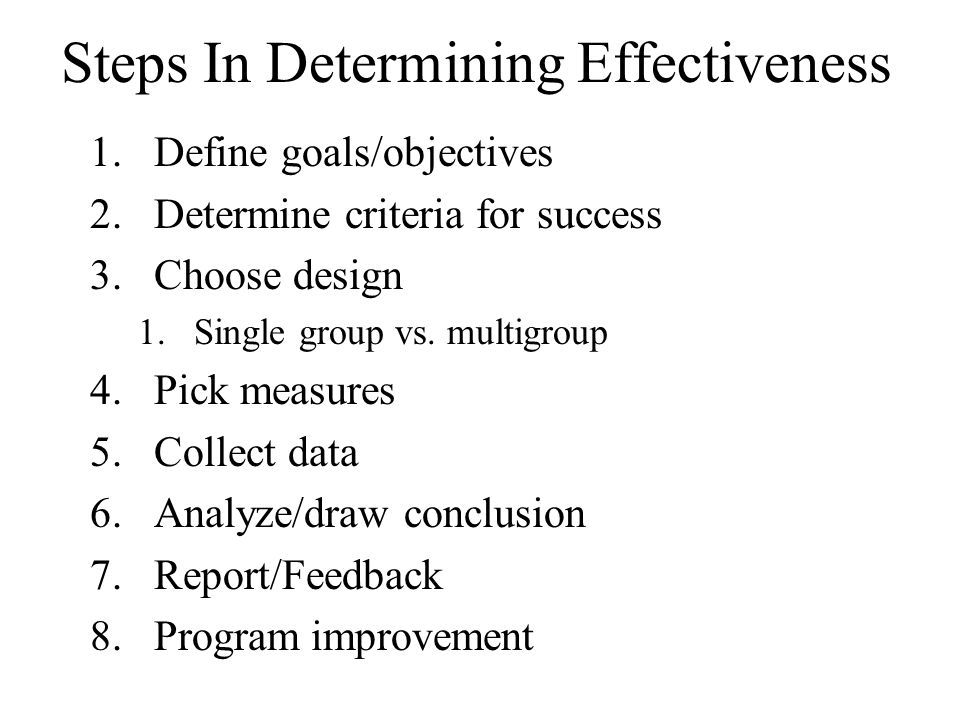Steps In Determining Effectiveness