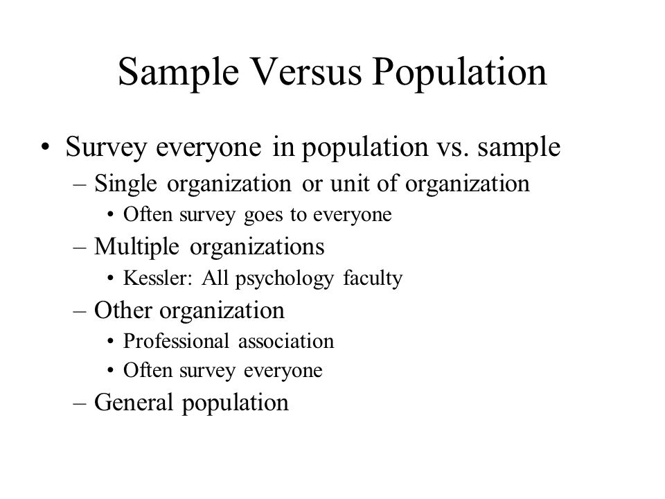 Sample Versus Population