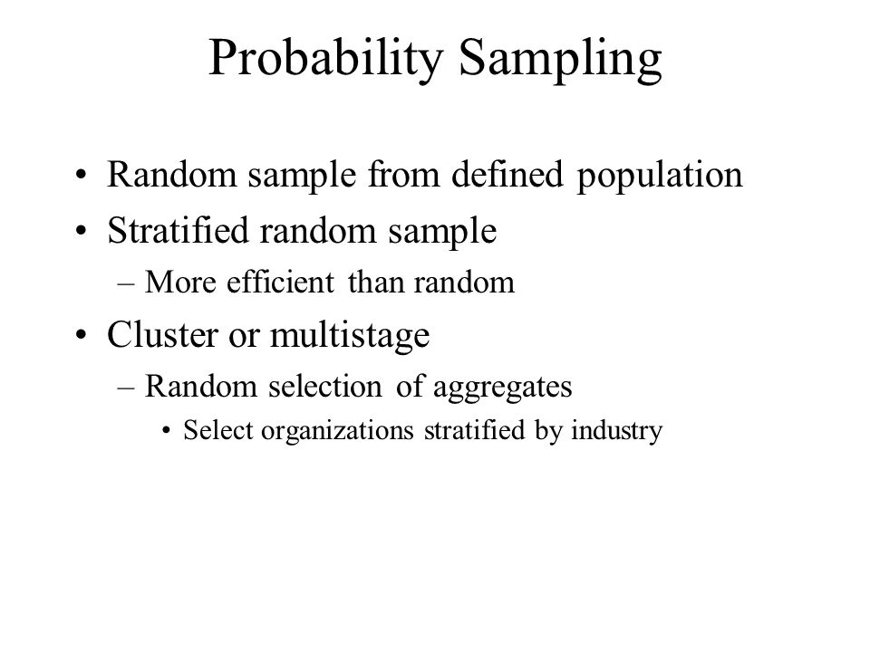 Probability Sampling Random sample from defined population