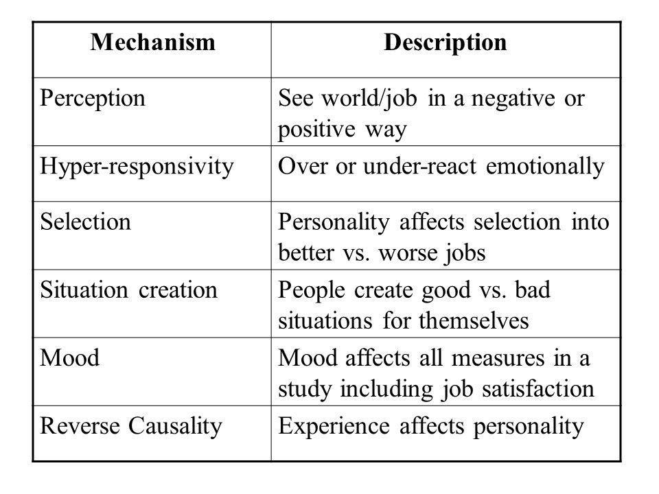 Mechanism Description. Perception. See world/job in a negative or positive way. Hyper-responsivity.
