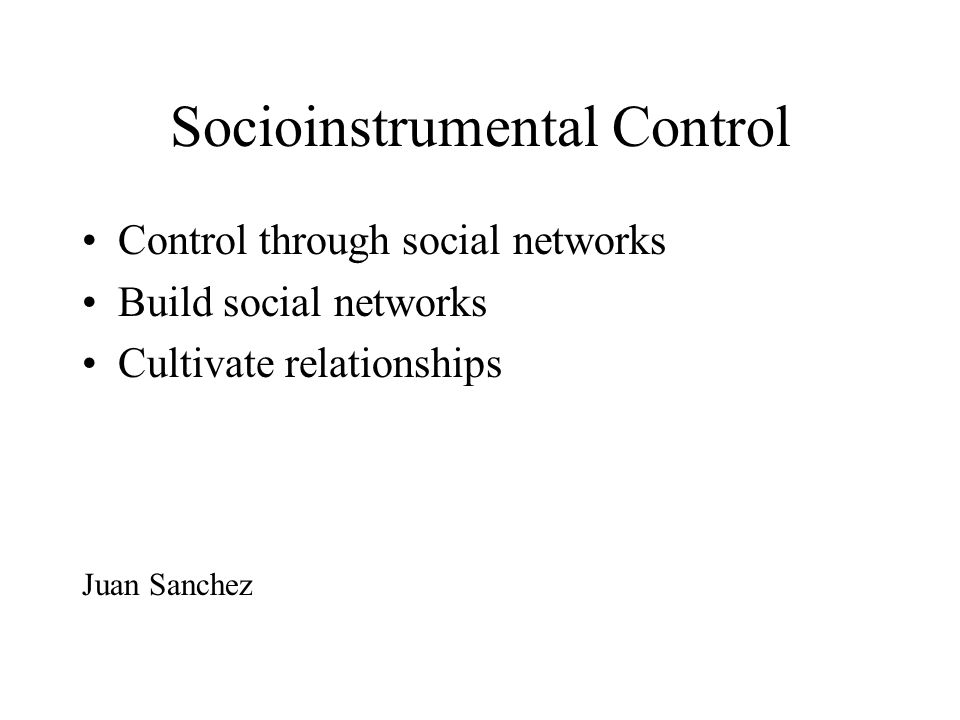 Socioinstrumental Control