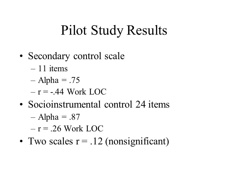 Pilot Study Results Secondary control scale