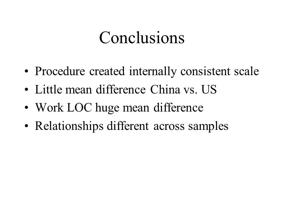 Conclusions Procedure created internally consistent scale