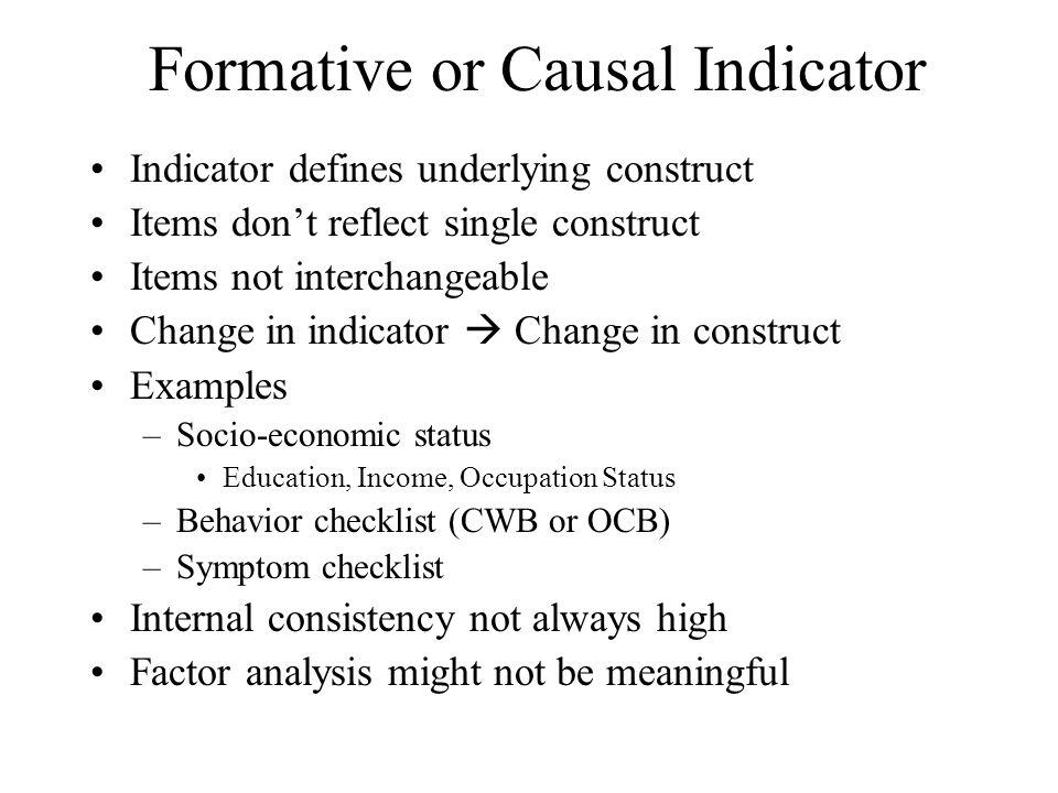 Formative or Causal Indicator