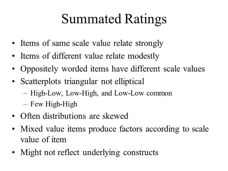 Summated Ratings Items of same scale value relate strongly