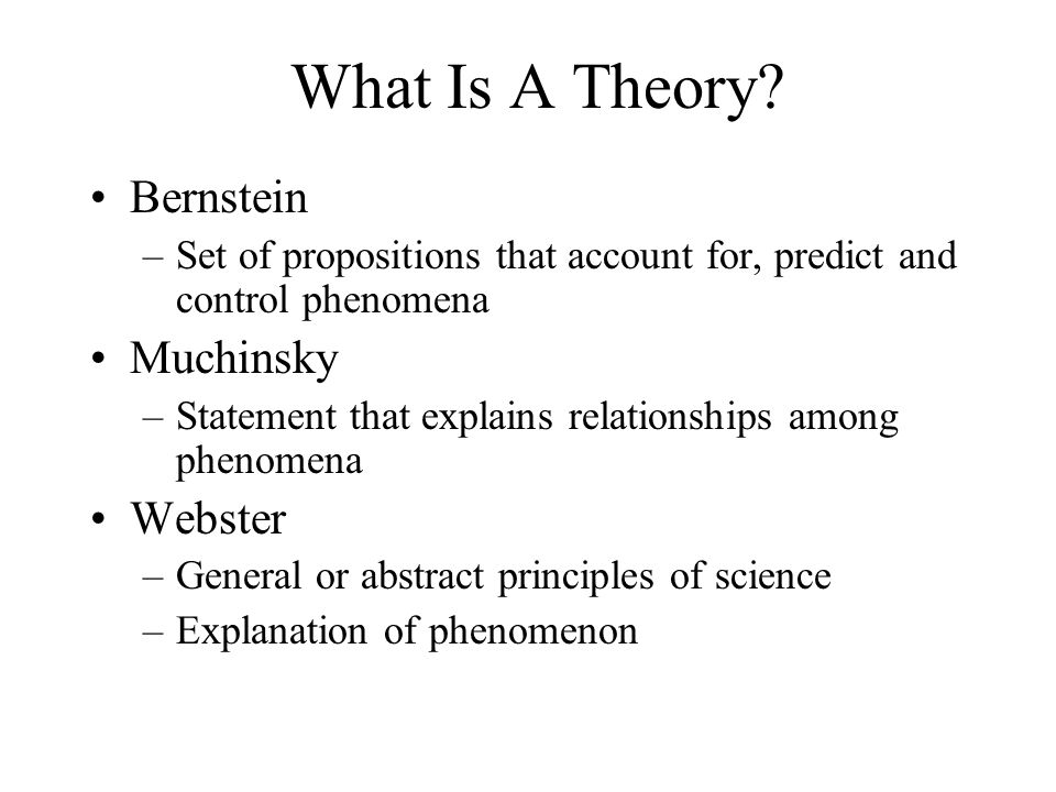 What Is A Theory Bernstein Muchinsky Webster
