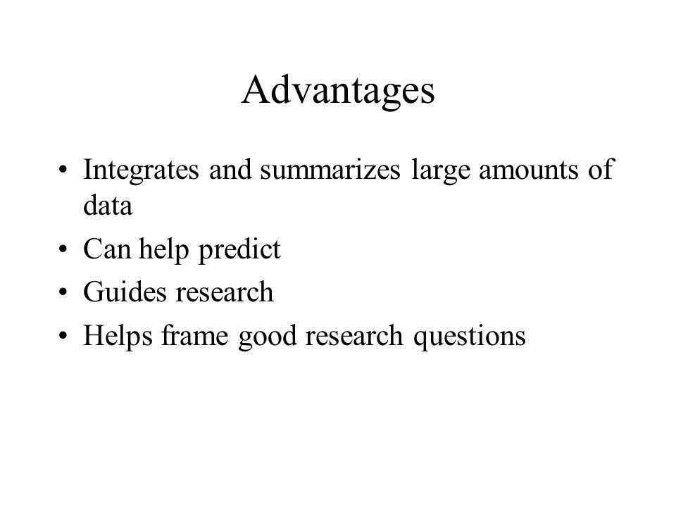 Advantages Integrates and summarizes large amounts of data