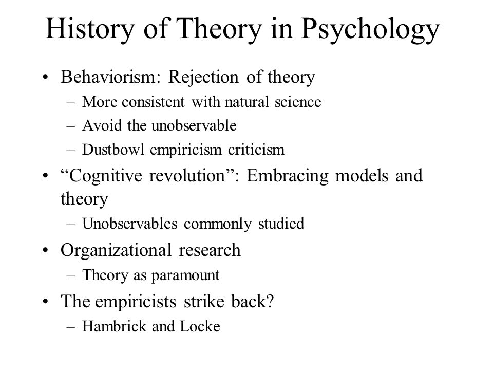 History of Theory in Psychology