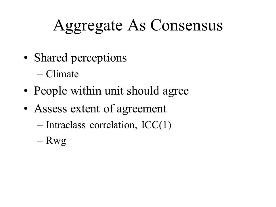 Aggregate As Consensus