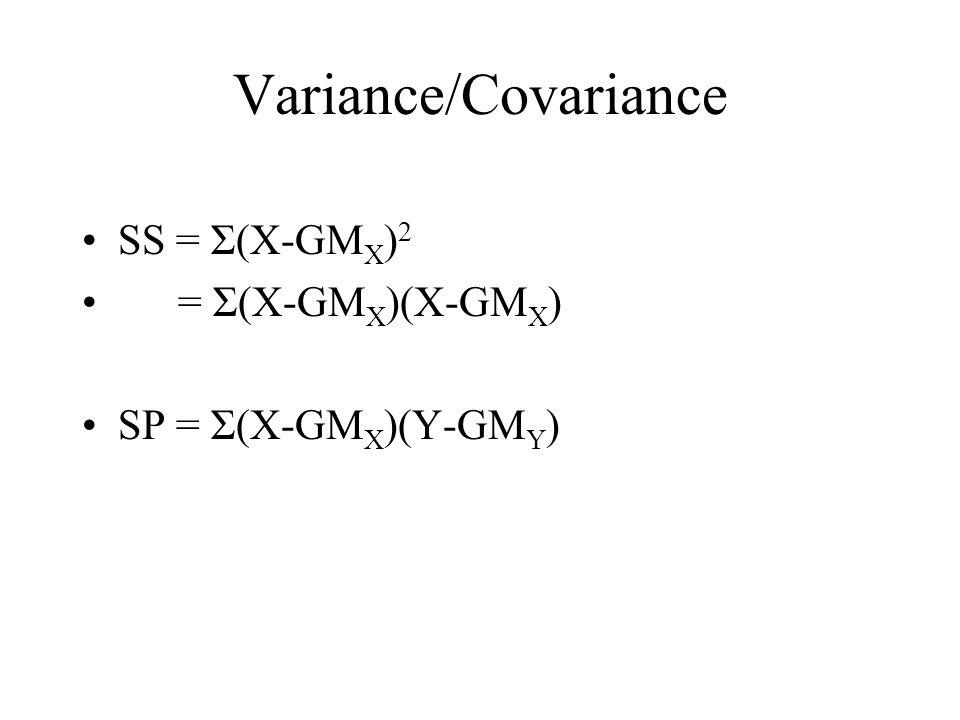 Variance/Covariance SS = Σ(X-GMX)2 = Σ(X-GMX)(X-GMX)