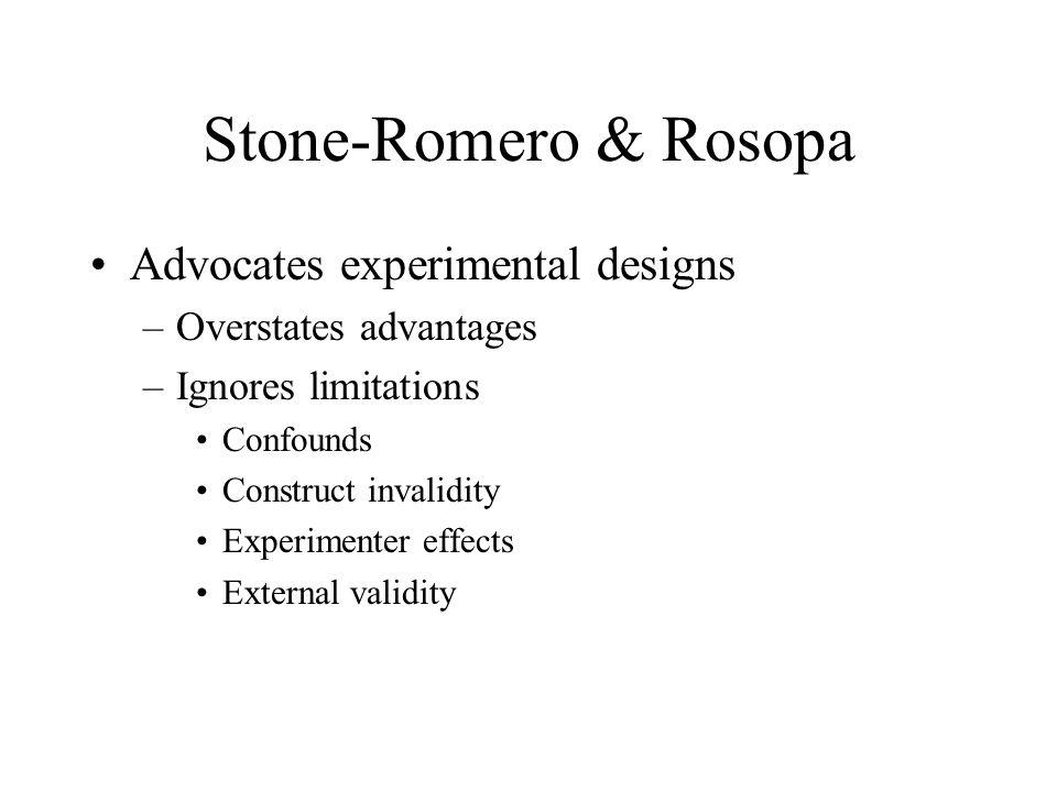 Stone-Romero & Rosopa Advocates experimental designs