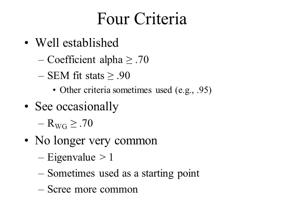 Four Criteria Well established See occasionally No longer very common