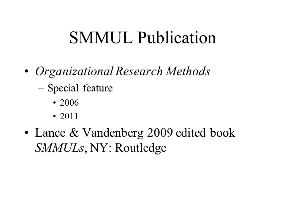 SMMUL Publication Organizational Research Methods