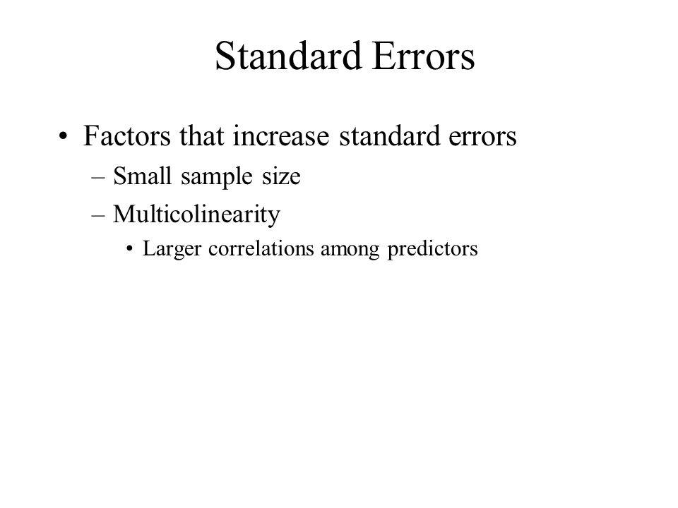 Standard Errors Factors that increase standard errors
