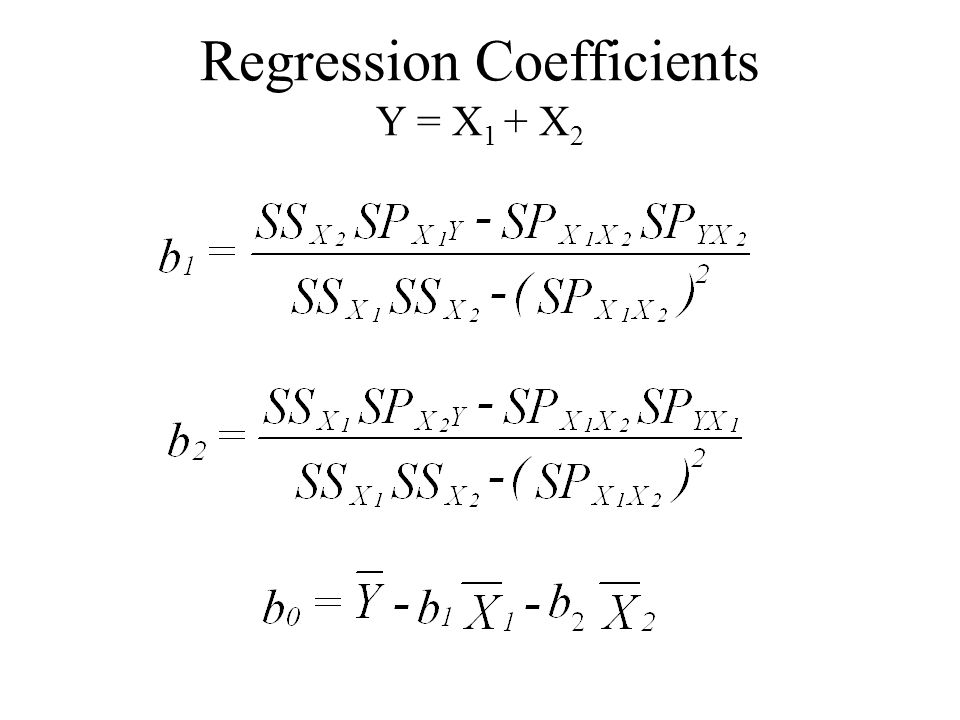 Regression Coefficients Y = X1 + X2