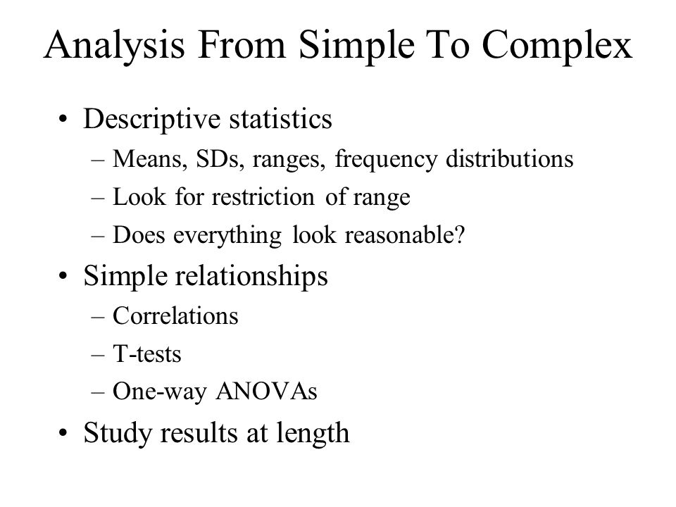 Analysis From Simple To Complex