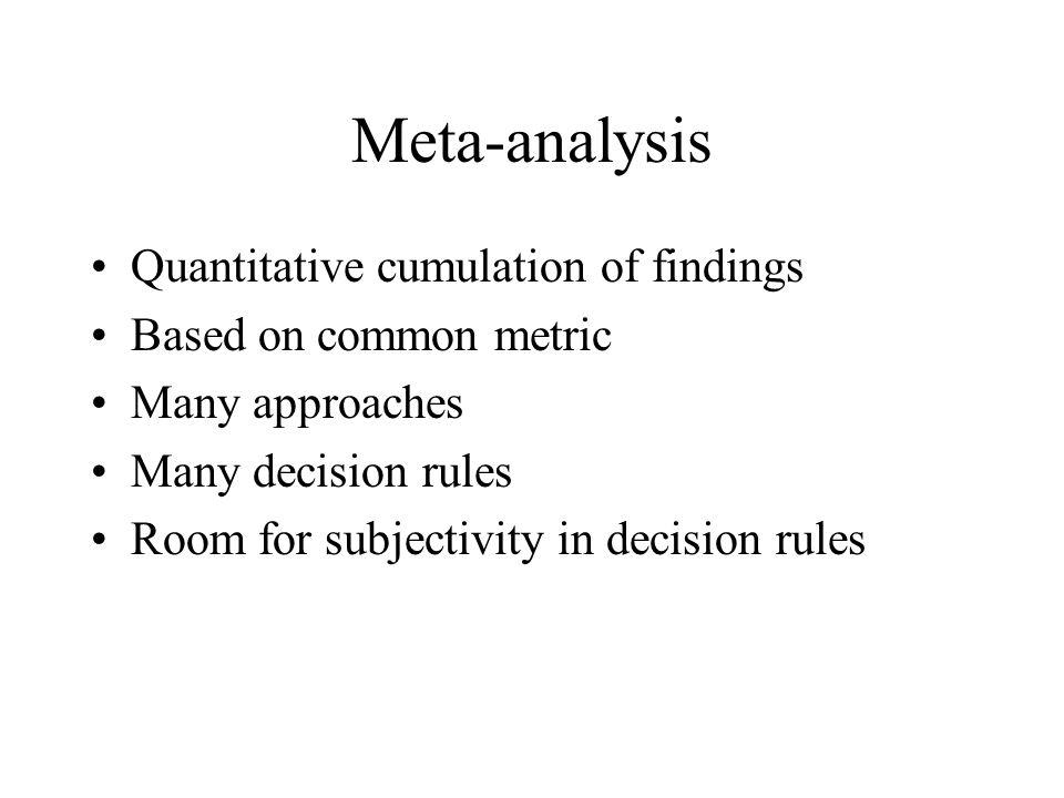 Meta-analysis Quantitative cumulation of findings