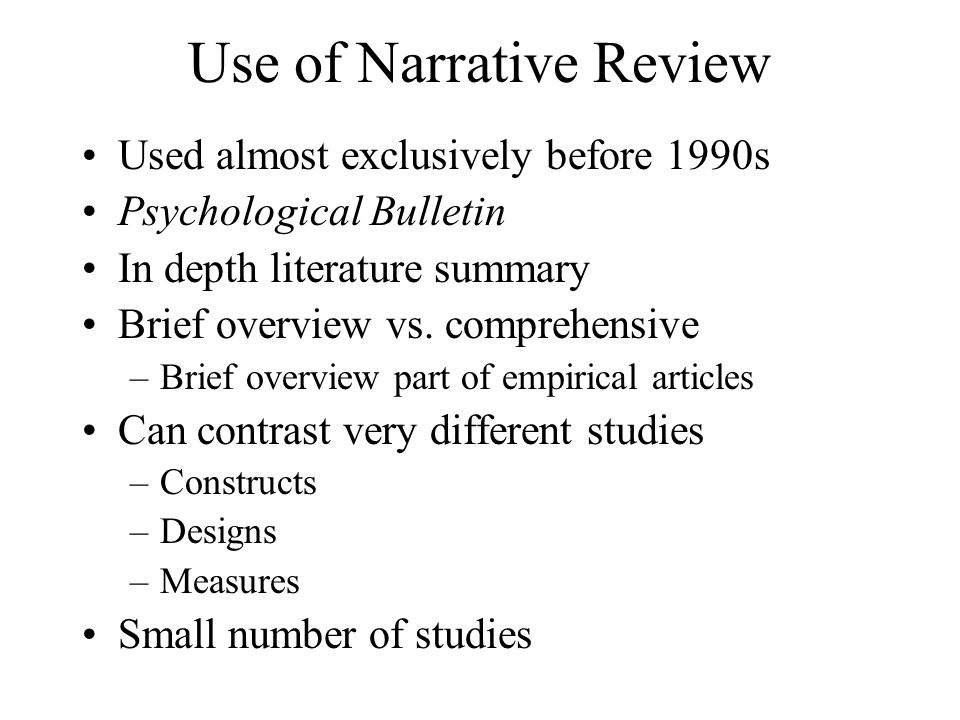 Use of Narrative Review